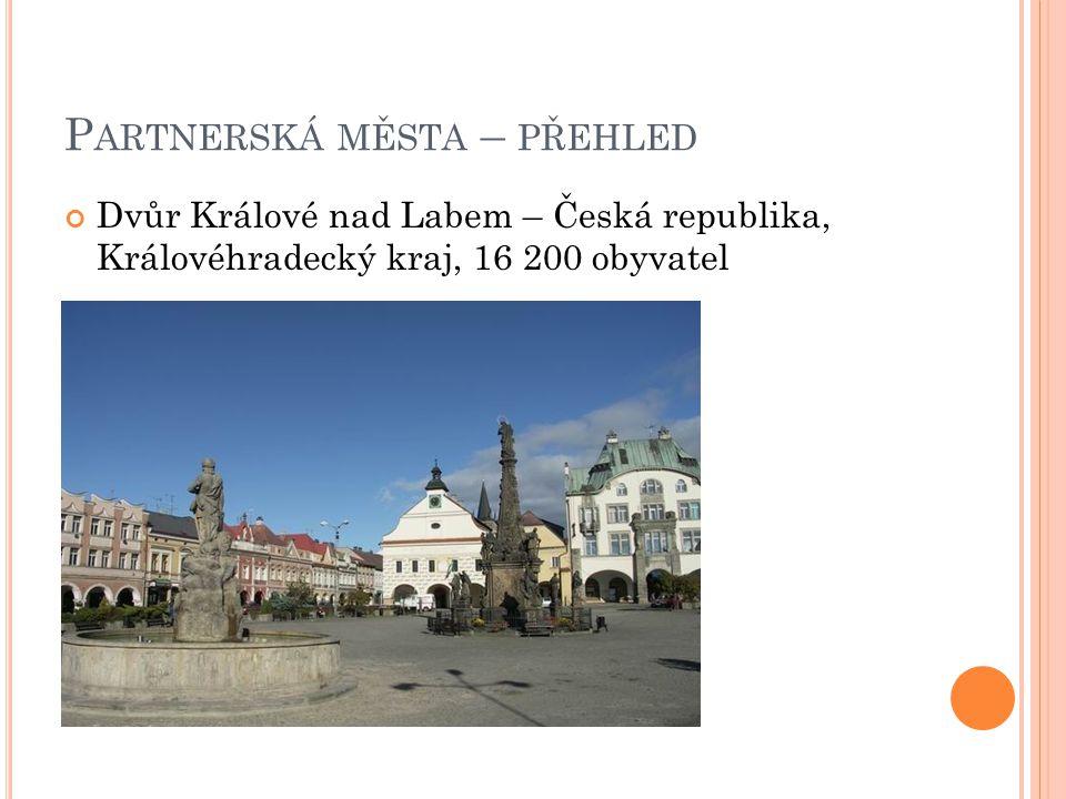 P ARTNERSKÁ MĚSTA – PŘEHLED Dvůr Králové nad Labem – Česká republika, Královéhradecký kraj, 16 200 obyvatel