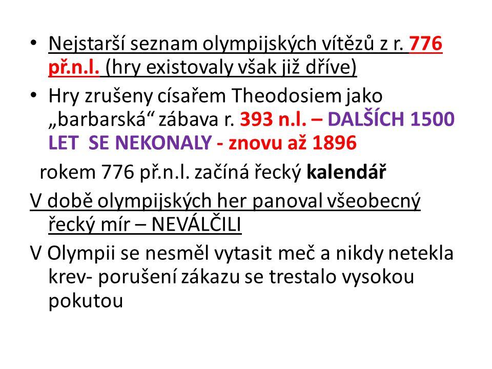 """Nejstarší seznam olympijských vítězů z r. 776 př.n.l. (hry existovaly však již dříve) Hry zrušeny císařem Theodosiem jako """"barbarská"""" zábava r. 393 n."""