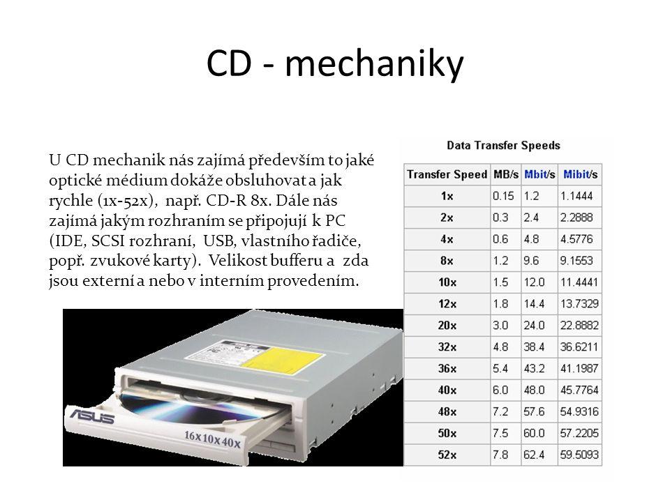 CD - mechaniky U CD mechanik nás zajímá především to jaké optické médium dokáže obsluhovat a jak rychle (1x-52x), např.