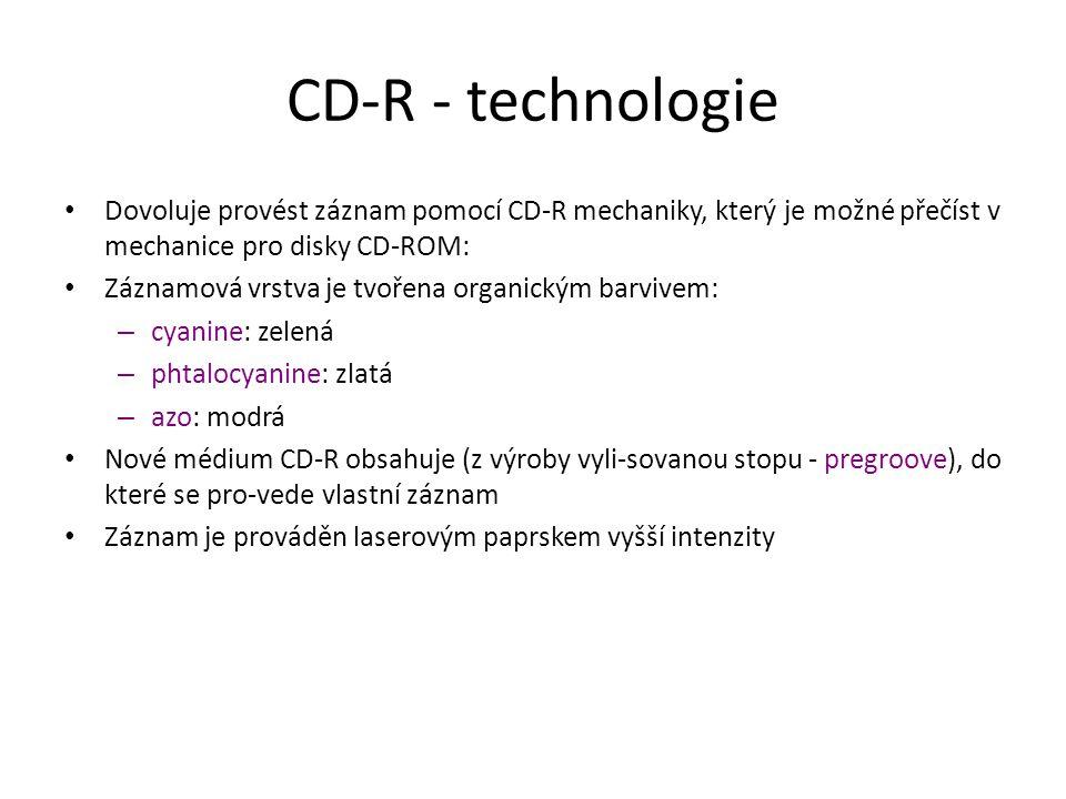 CD-R - technologie Dovoluje provést záznam pomocí CD-R mechaniky, který je možné přečíst v mechanice pro disky CD-ROM: Záznamová vrstva je tvořena organickým barvivem: – cyanine: zelená – phtalocyanine: zlatá – azo: modrá Nové médium CD-R obsahuje (z výroby vyli-sovanou stopu - pregroove), do které se pro-vede vlastní záznam Záznam je prováděn laserovým paprskem vyšší intenzity