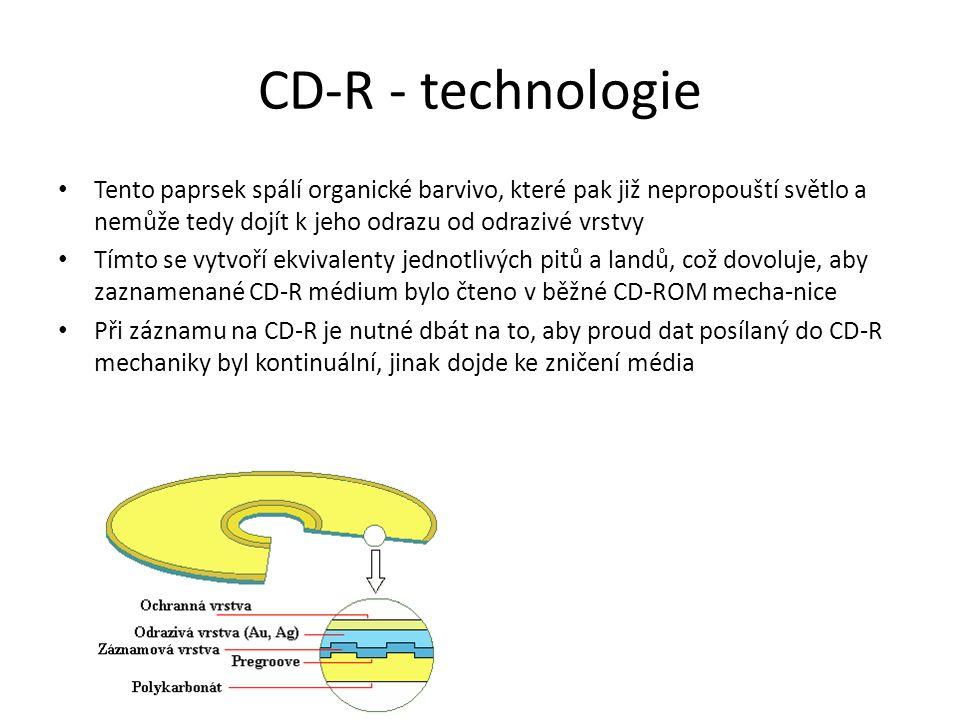 CD-R - technologie Tento paprsek spálí organické barvivo, které pak již nepropouští světlo a nemůže tedy dojít k jeho odrazu od odrazivé vrstvy Tímto se vytvoří ekvivalenty jednotlivých pitů a landů, což dovoluje, aby zaznamenané CD-R médium bylo čteno v běžné CD-ROM mecha-nice Při záznamu na CD-R je nutné dbát na to, aby proud dat posílaný do CD-R mechaniky byl kontinuální, jinak dojde ke zničení média