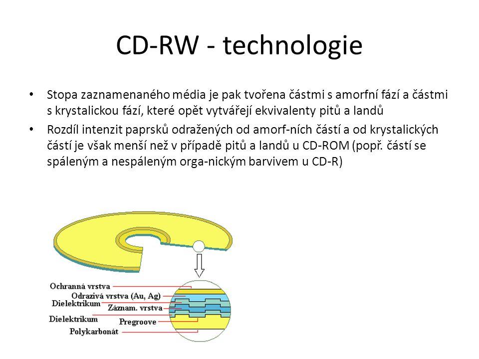 CD-RW - technologie Stopa zaznamenaného média je pak tvořena částmi s amorfní fází a částmi s krystalickou fází, které opět vytvářejí ekvivalenty pitů a landů Rozdíl intenzit paprsků odražených od amorf-ních částí a od krystalických částí je však menší než v případě pitů a landů u CD-ROM (popř.