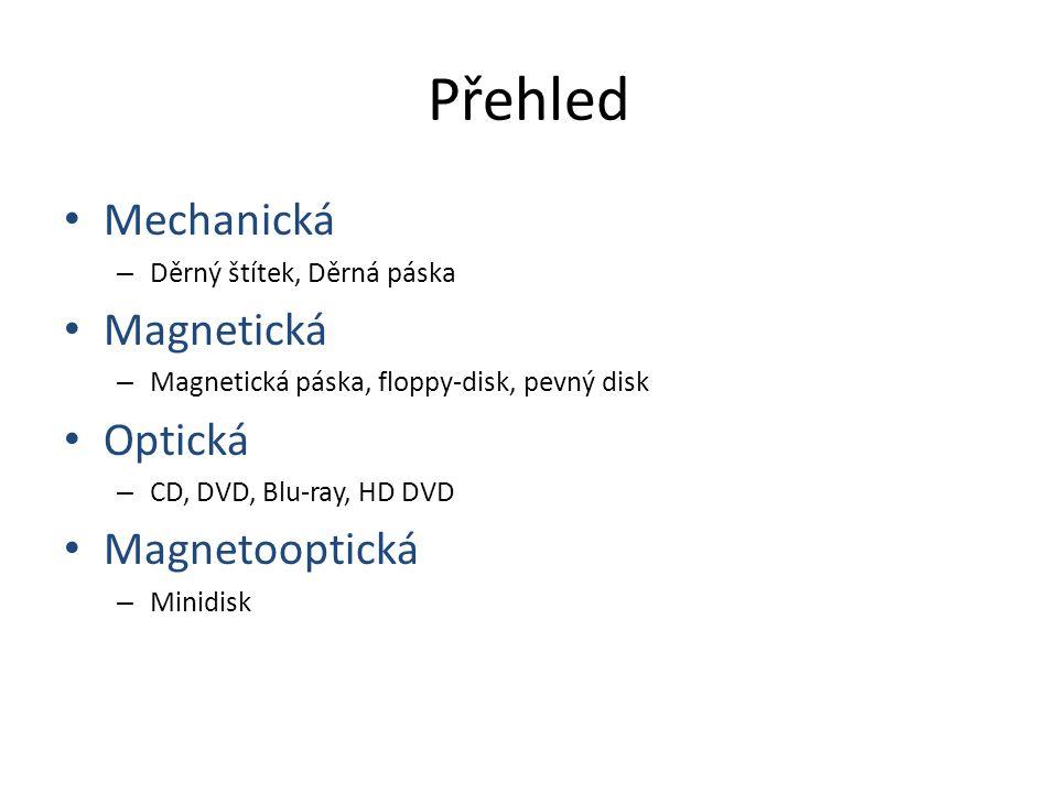 Přehled Mechanická – Děrný štítek, Děrná páska Magnetická – Magnetická páska, floppy-disk, pevný disk Optická – CD, DVD, Blu-ray, HD DVD Magnetooptická – Minidisk