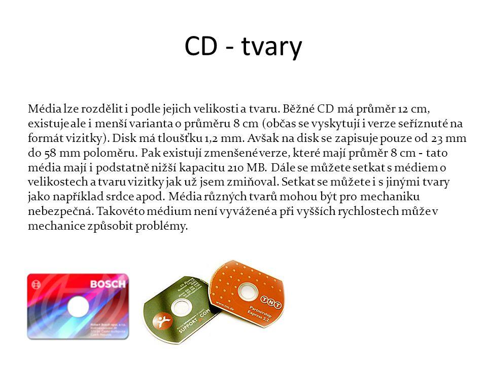 CD - tvary Média lze rozdělit i podle jejich velikosti a tvaru.