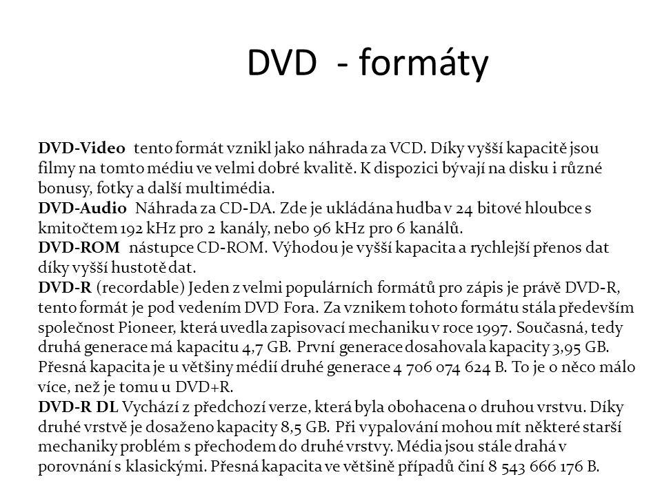 DVD - formáty DVD-Video tento formát vznikl jako náhrada za VCD.
