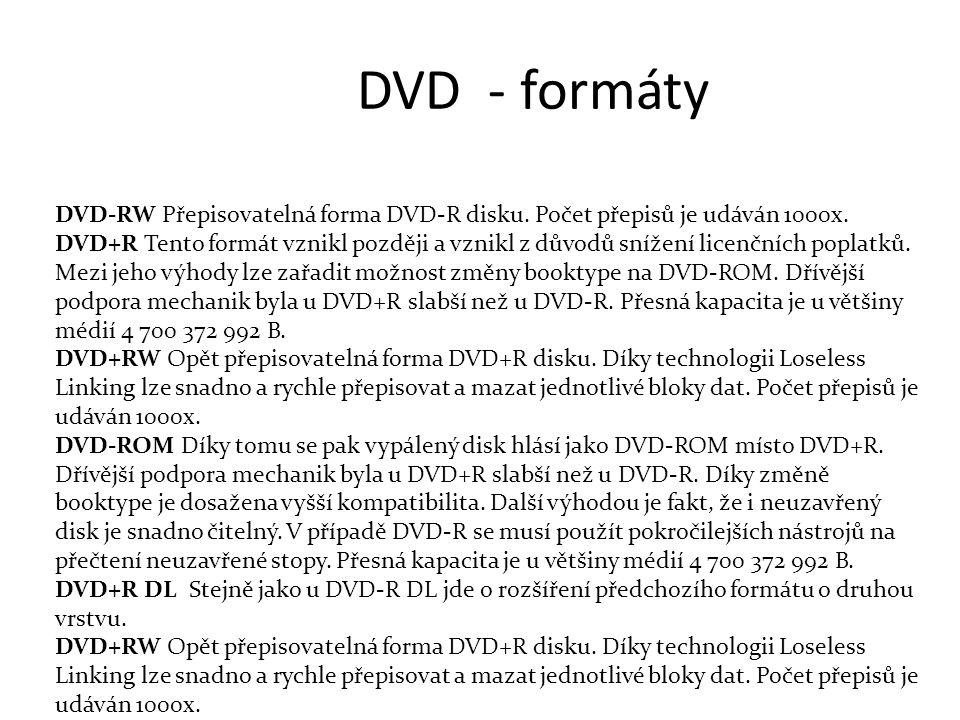 DVD - formáty DVD-RW Přepisovatelná forma DVD-R disku.