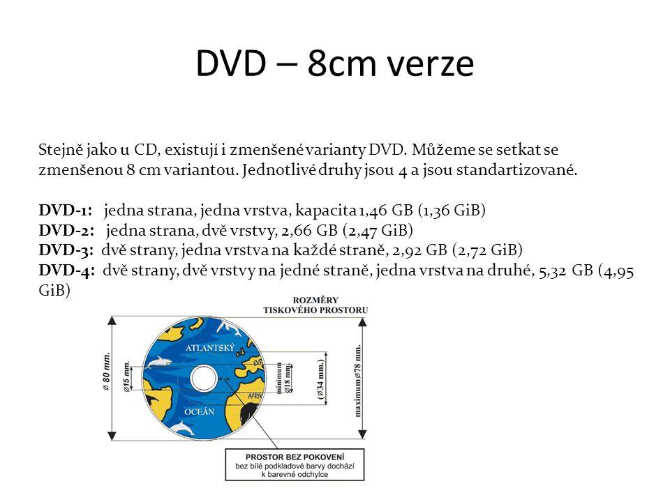 DVD – 8cm verze Stejně jako u CD, existují i zmenšené varianty DVD.