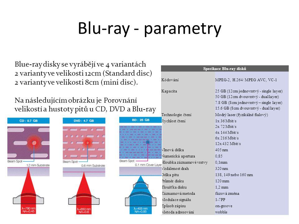 Blu-ray - parametry Blue-ray disky se vyrábějí ve 4 variantách 2 varianty ve velikosti 12cm (Standard disc) 2 varianty ve velikosti 8cm (mini disc).