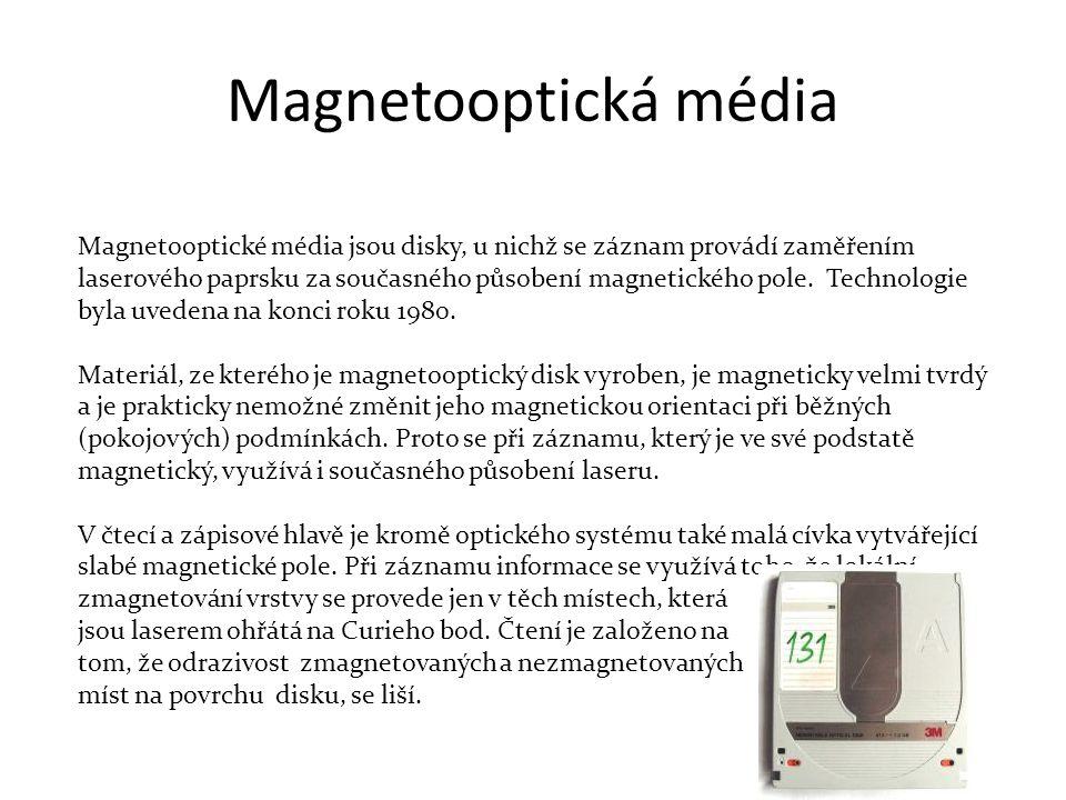 Magnetooptické média jsou disky, u nichž se záznam provádí zaměřením laserového paprsku za současného působení magnetického pole.