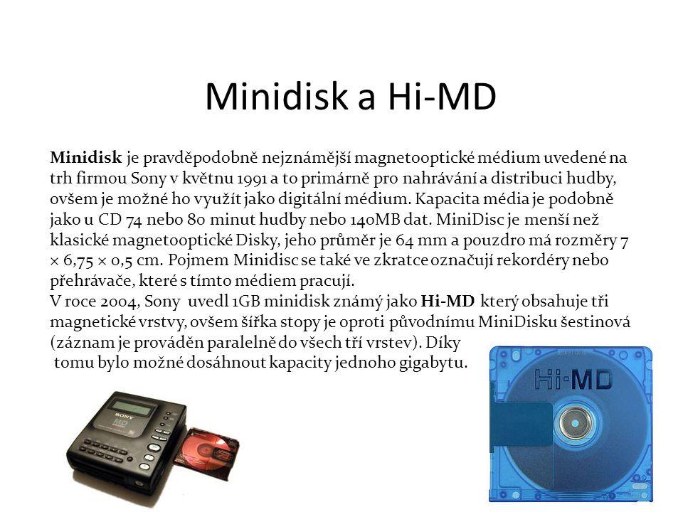 Minidisk je pravděpodobně nejznámější magnetooptické médium uvedené na trh firmou Sony v květnu 1991 a to primárně pro nahrávání a distribuci hudby, ovšem je možné ho využít jako digitální médium.