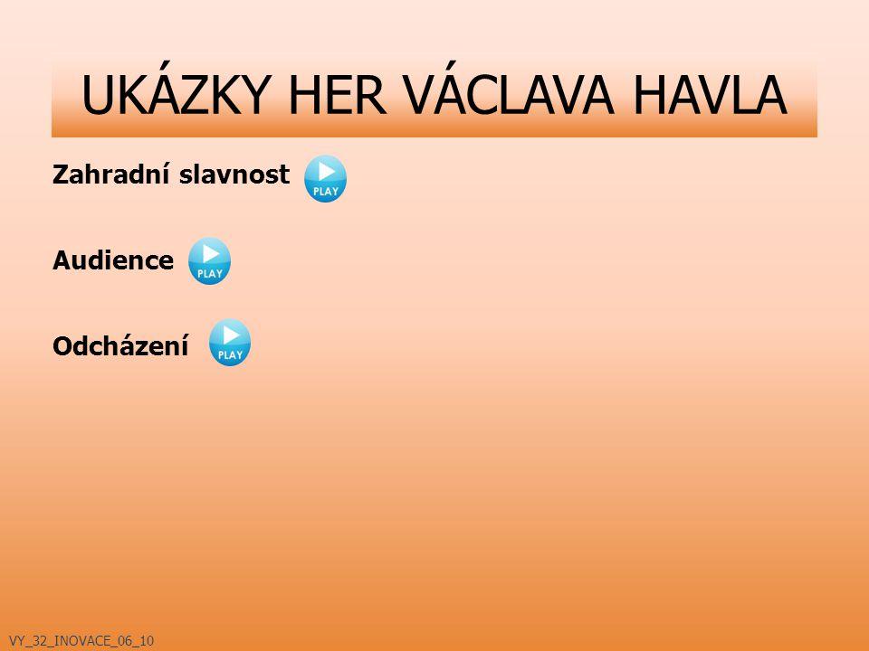 Zahradní slavnost Audience Odcházení UKÁZKY HER VÁCLAVA HAVLA VY_32_INOVACE_06_10