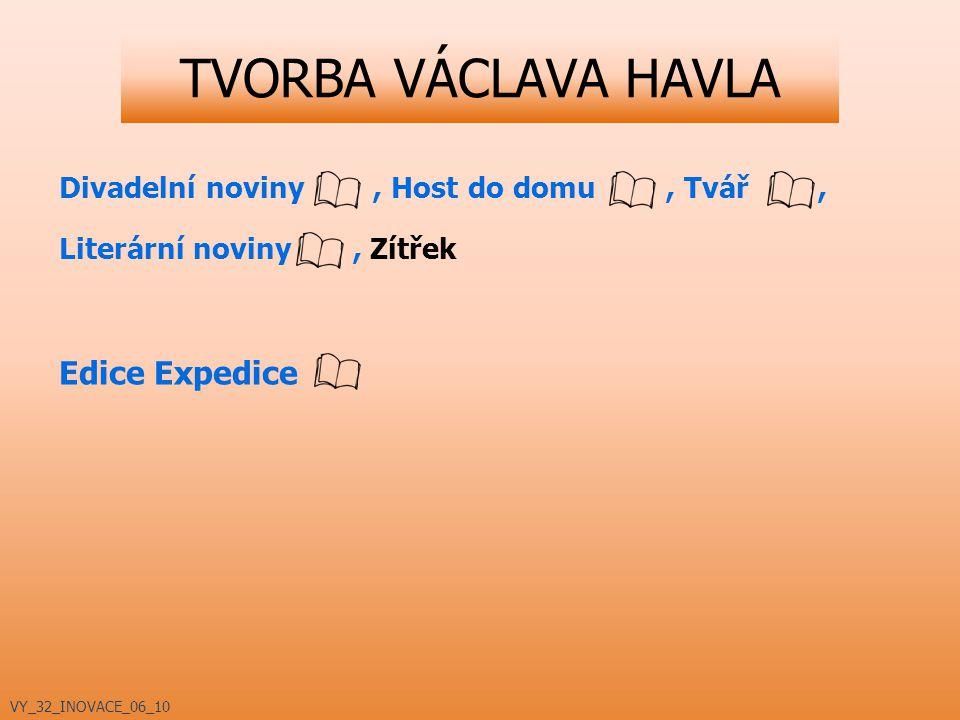 TVORBA VÁCLAVA HAVLA Divadelní noviny, Host do domu, Tvář, Literární noviny, Zítřek Edice Expedice VY_32_INOVACE_06_10