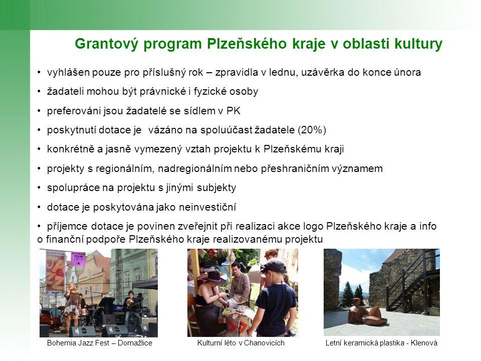 Grantový program Plzeňského kraje v oblasti kultury vyhlášen pouze pro příslušný rok – zpravidla v lednu, uzávěrka do konce února žadateli mohou být p