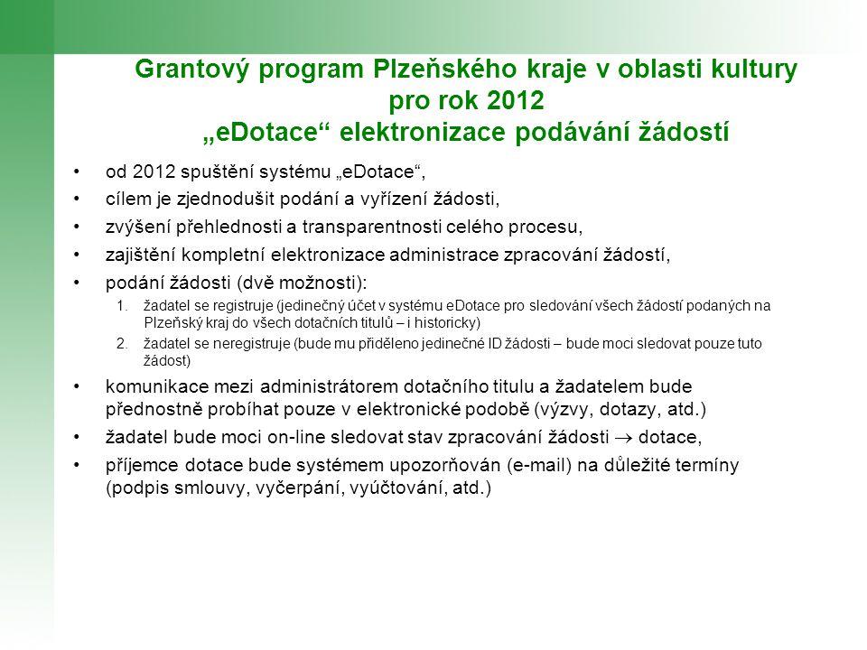 """Grantový program Plzeňského kraje v oblasti kultury pro rok 2012 """"eDotace"""" elektronizace podávání žádostí od 2012 spuštění systému """"eDotace"""", cílem je"""