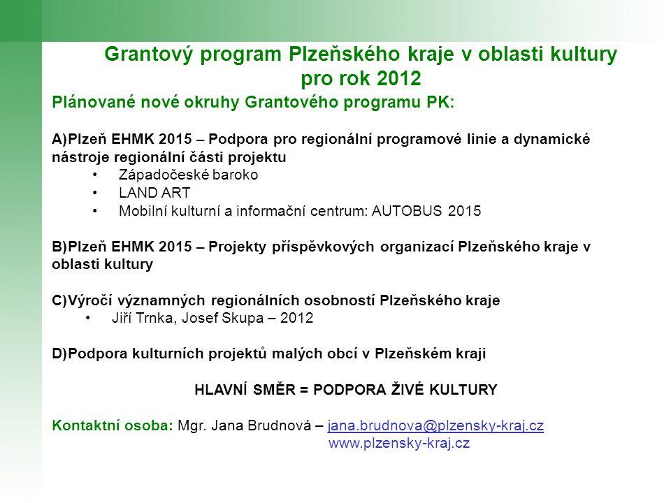 Grantový program Plzeňského kraje v oblasti kultury pro rok 2012 Plánované nové okruhy Grantového programu PK: A)Plzeň EHMK 2015 – Podpora pro regioná