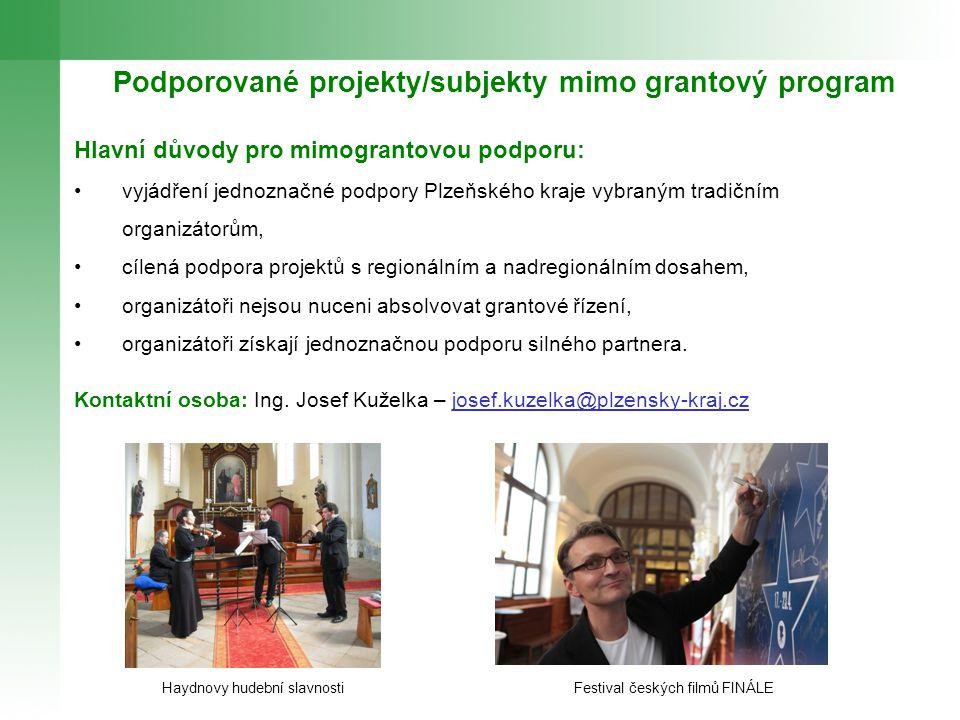 Podporované projekty/subjekty mimo grantový program Hlavní důvody pro mimograntovou podporu: vyjádření jednoznačné podpory Plzeňského kraje vybraným t