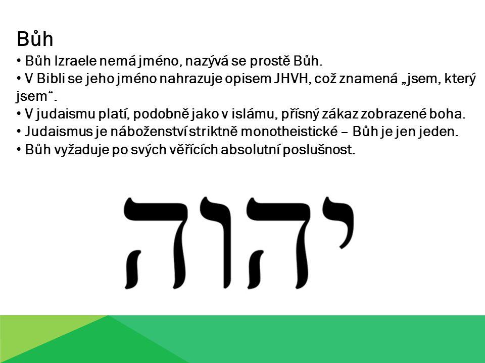 """Bůh Bůh Izraele nemá jméno, nazývá se prostě Bůh. V Bibli se jeho jméno nahrazuje opisem JHVH, což znamená """"jsem, který jsem"""". V judaismu platí, podob"""