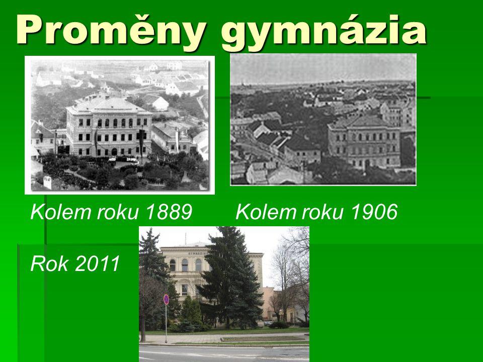Proměny gymnázia Kolem roku 1889 Kolem roku 1906 Rok 2011