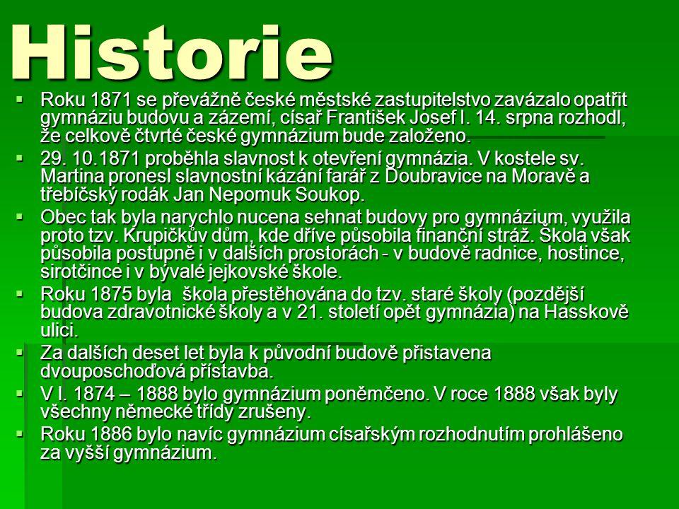Historie  Roku 1871 se převážně české městské zastupitelstvo zavázalo opatřit gymnáziu budovu a zázemí, císař František Josef I.