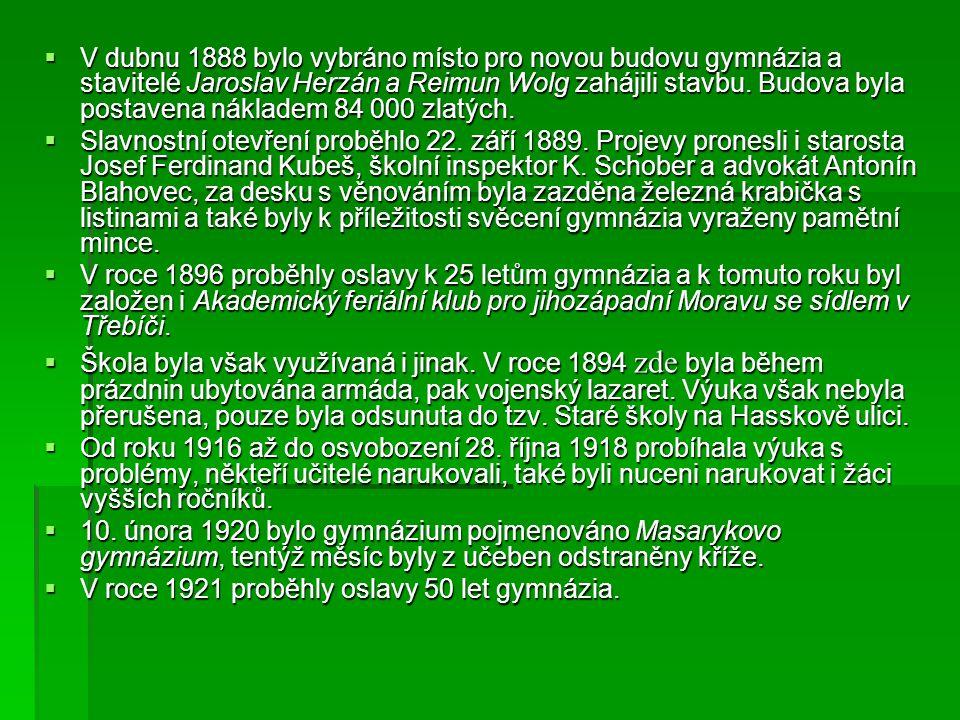  V dubnu 1888 bylo vybráno místo pro novou budovu gymnázia a stavitelé Jaroslav Herzán a Reimun Wolg zahájili stavbu.