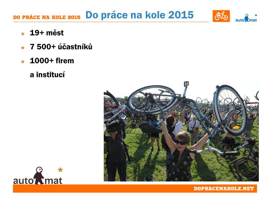 Do práce na kole 2015 19+ měst 7 500+ účastníků 1000+ firem a institucí