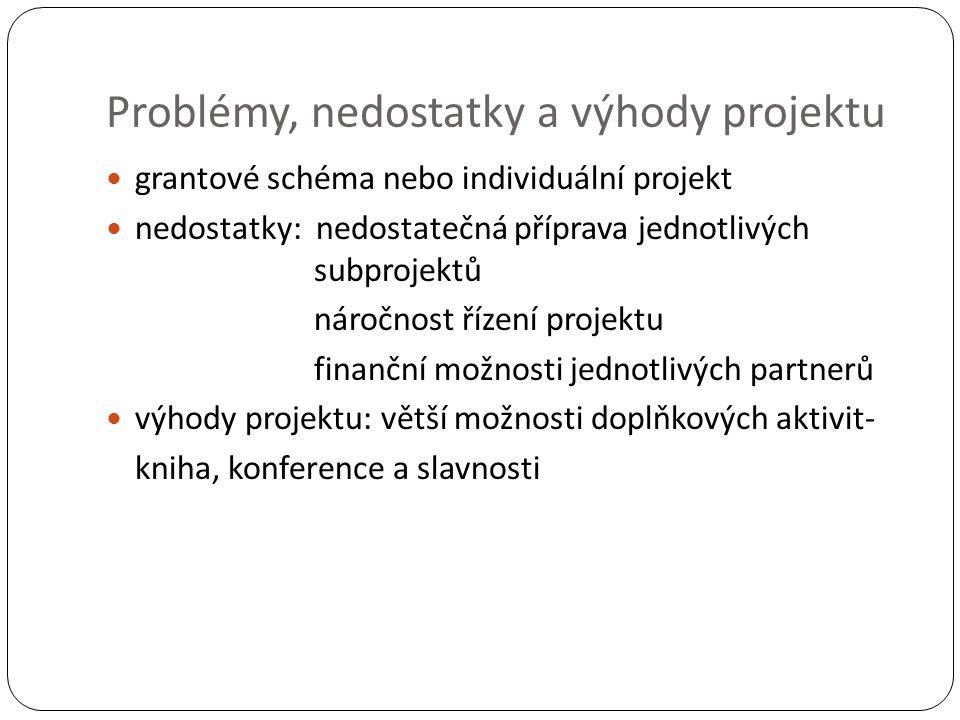 Problémy, nedostatky a výhody projektu grantové schéma nebo individuální projekt nedostatky: nedostatečná příprava jednotlivých subprojektů náročnost