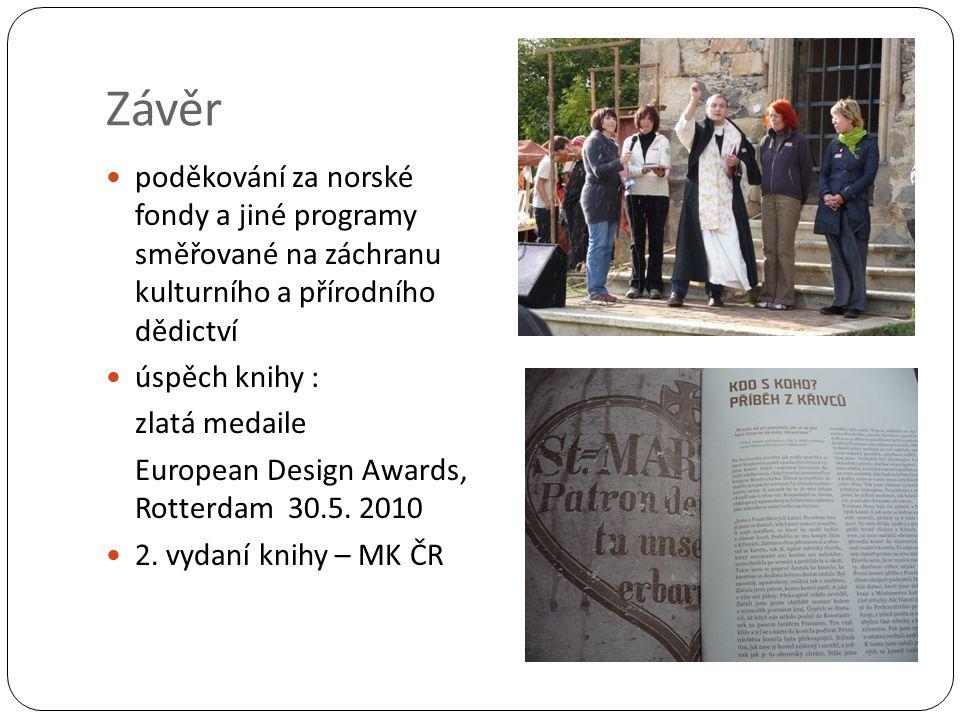 Závěr poděkování za norské fondy a jiné programy směřované na záchranu kulturního a přírodního dědictví úspěch knihy : zlatá medaile European Design Awards, Rotterdam 30.5.