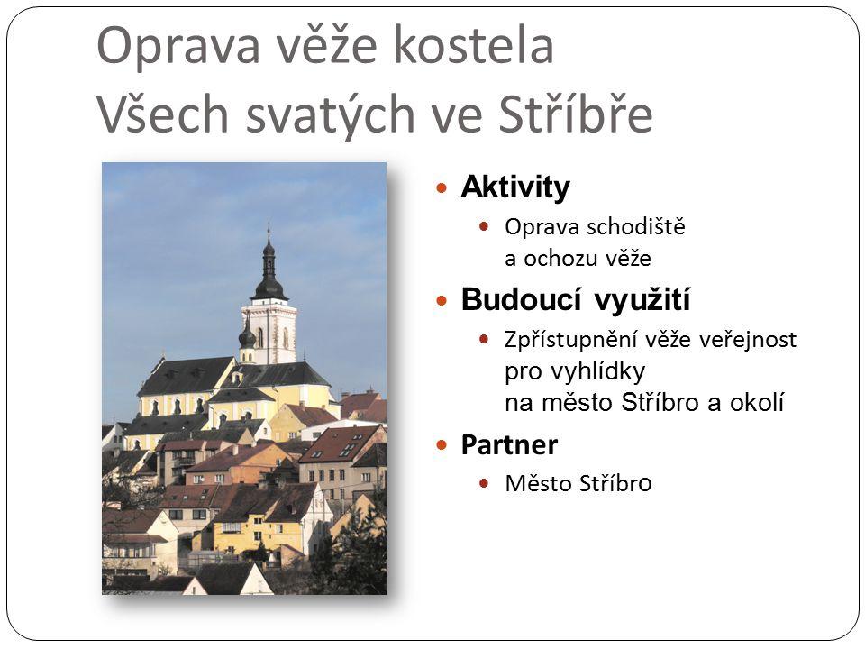 Oprava věže kostela Všech svatých ve Stříbře Aktivity Oprava schodiště a ochozu věže Budoucí využití Zpřístupnění věže veřejnost pro vyhlídky na město