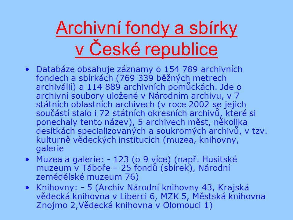 Archivní fondy a sbírky v České republice Databáze obsahuje záznamy o 154 789 archivních fondech a sbírkách (769 339 běžných metrech archiválií) a 114 889 archivních pomůckách.