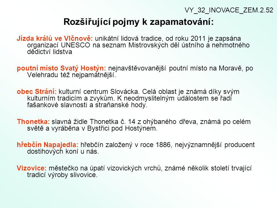 Rozšiřující pojmy k zapamatování: Jízda králů ve Vlčnově: unikátní lidová tradice, od roku 2011 je zapsána organizací UNESCO na seznam Mistrovských dě