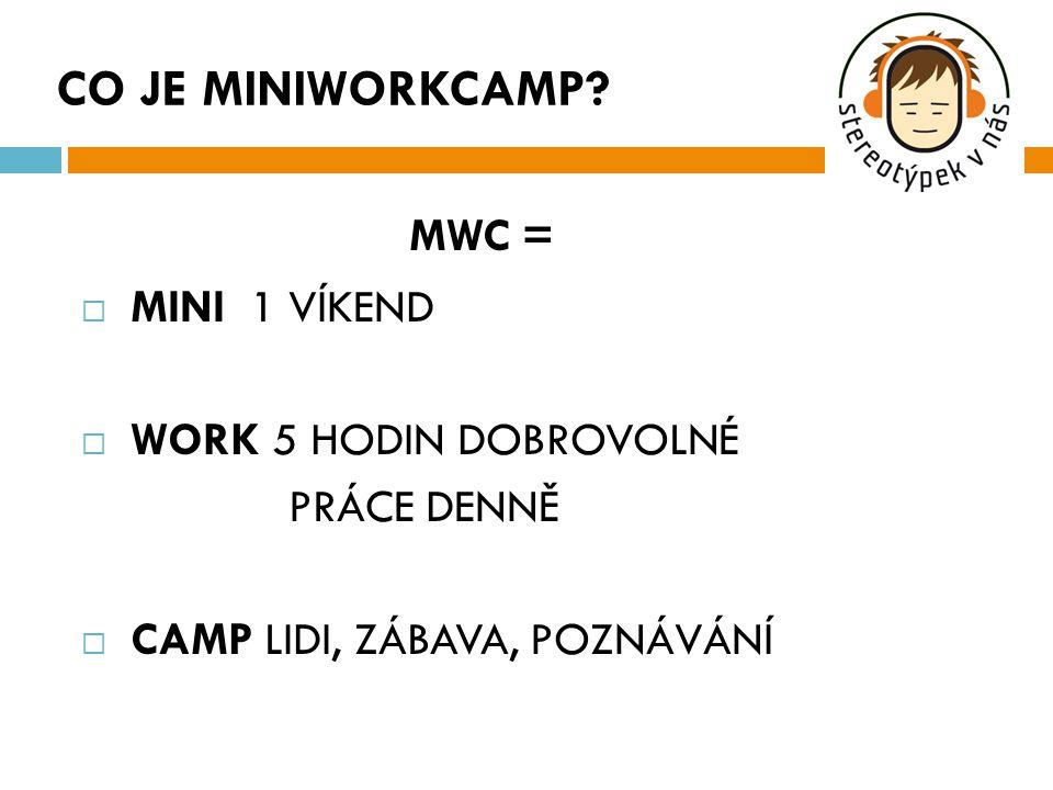 MWC =  MINI 1 VÍKEND  WORK 5 HODIN DOBROVOLNÉ PRÁCE DENNĚ  CAMP LIDI, ZÁBAVA, POZNÁVÁNÍ CO JE MINIWORKCAMP