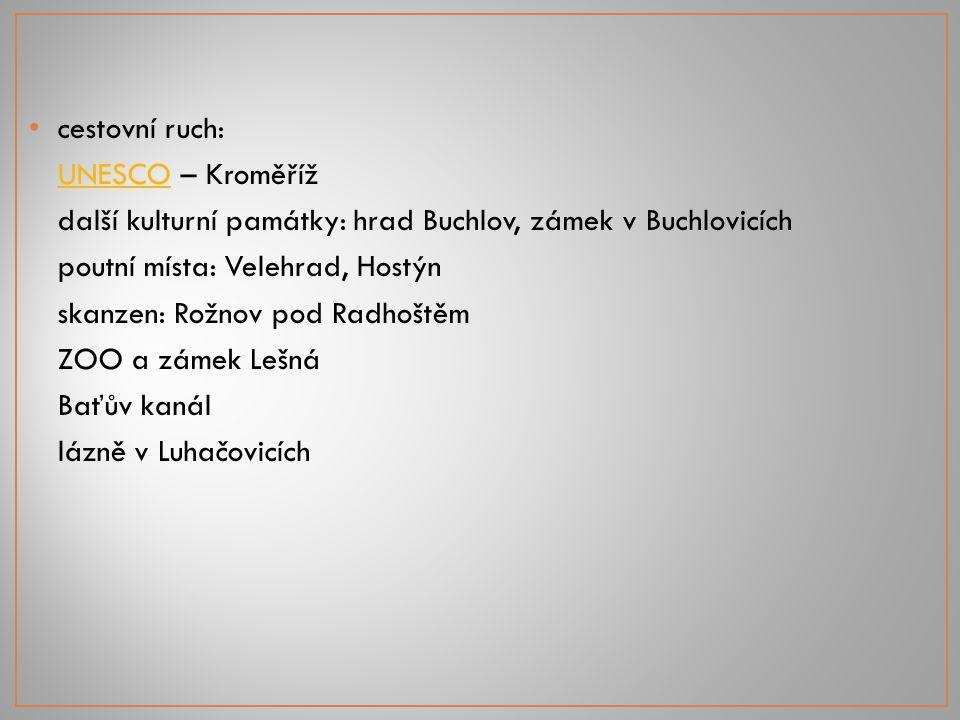 cestovní ruch: UNESCOUNESCO – Kroměříž další kulturní památky: hrad Buchlov, zámek v Buchlovicích poutní místa: Velehrad, Hostýn skanzen: Rožnov pod R