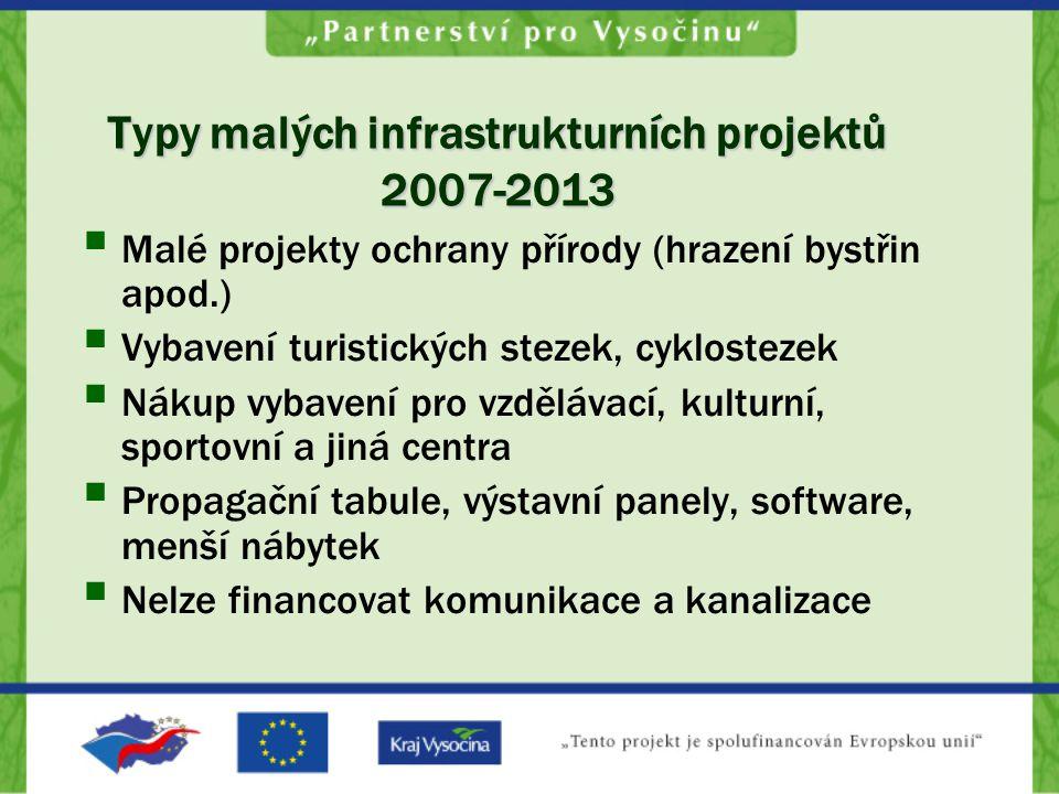 Typy malých infrastrukturních projektů 2007-2013  Malé projekty ochrany přírody (hrazení bystřin apod.)  Vybavení turistických stezek, cyklostezek 