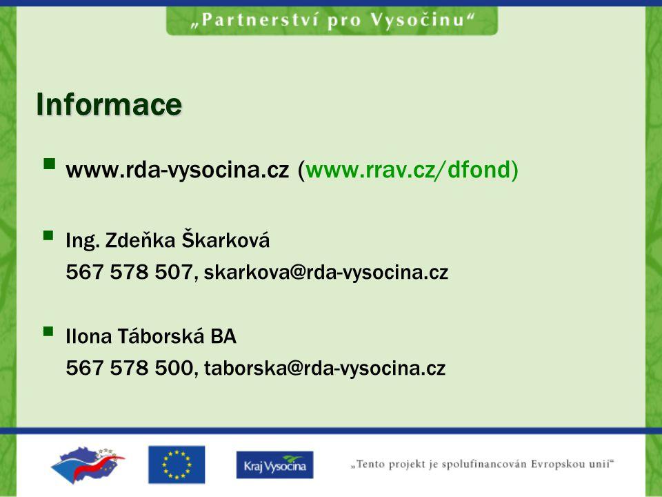 Informace  www.rda-vysocina.cz (www.rrav.cz/dfond)  Ing. Zdeňka Škarková 567 578 507, skarkova@rda-vysocina.cz  Ilona Táborská BA 567 578 500, tabo