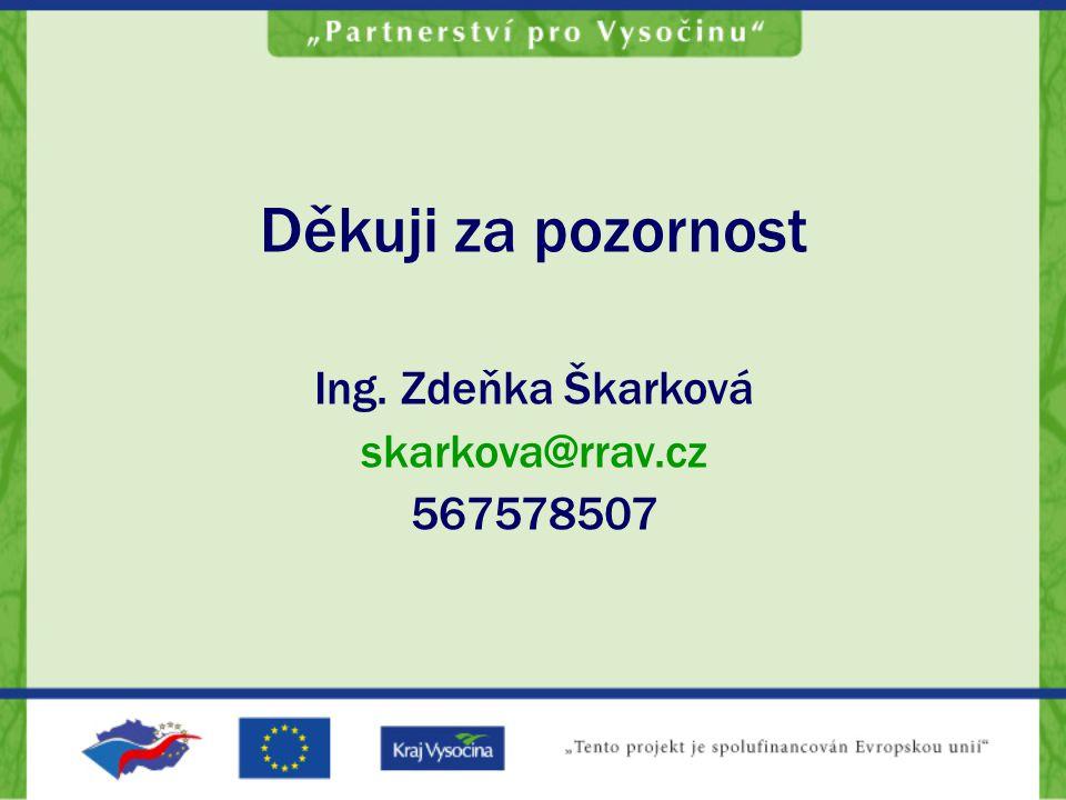 Děkuji za pozornost Ing. Zdeňka Škarková skarkova@rrav.cz 567578507