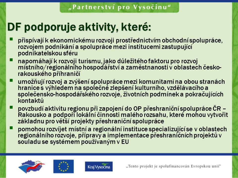 DF podporuje aktivity, které:  přispívají k ekonomickému rozvoji prostřednictvím obchodní spolupráce, rozvojem podnikání a spolupráce mezi institucemi zastupující podnikatelskou sféru  napomáhají k rozvoji turismu, jako důležitého faktoru pro rozvoj místního/regionálního hospodářství a zaměstnanosti v oblastech česko- rakouského příhraničí  umožňují rozvoj a zvýšení spolupráce mezi komunitami na obou stranách hranice s výhledem na společné zlepšení kulturního, vzdělávacího a společensko-hospodářského rozvoje, životních podmínek a pokračujících kontaktů  povzbudí aktivitu regionu při zapojení do OP přeshraniční spolupráce ČR – Rakousko a podpoří lokální činnosti malého rozsahu, které mohou vytvořit základnu pro větší projekty přeshraniční spolupráce  pomohou rozvíjet místní a regionální instituce specializující se v oblastech regionálního rozvoje, přípravy a implementace přeshraničních projektů v souladu se systémem používaným v EU