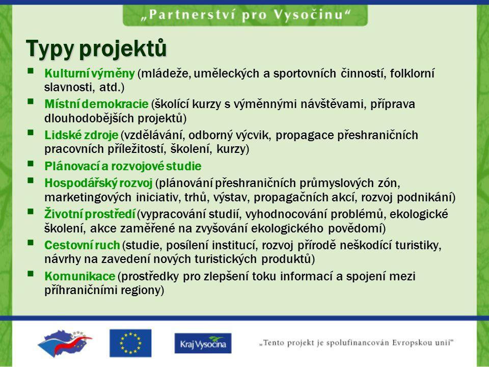 Typy projektů  Kulturní výměny (mládeže, uměleckých a sportovních činností, folklorní slavnosti, atd.)  Místní demokracie (školící kurzy s výměnnými