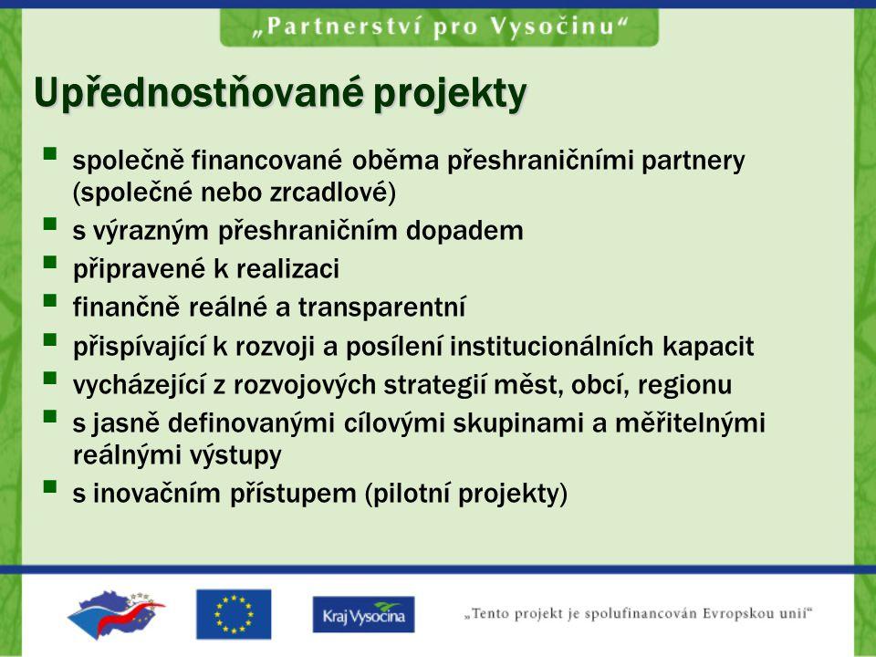 Upřednostňované projekty  společně financované oběma přeshraničními partnery (společné nebo zrcadlové)  s výrazným přeshraničním dopadem  připravené k realizaci  finančně reálné a transparentní  přispívající k rozvoji a posílení institucionálních kapacit  vycházející z rozvojových strategií měst, obcí, regionu  s jasně definovanými cílovými skupinami a měřitelnými reálnými výstupy  s inovačním přístupem (pilotní projekty)