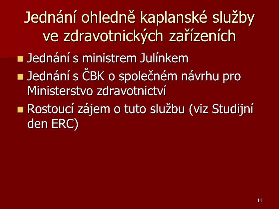 11 Jednání ohledně kaplanské služby ve zdravotnických zařízeních Jednání s ministrem Julínkem Jednání s ministrem Julínkem Jednání s ČBK o společném návrhu pro Ministerstvo zdravotnictví Jednání s ČBK o společném návrhu pro Ministerstvo zdravotnictví Rostoucí zájem o tuto službu (viz Studijní den ERC) Rostoucí zájem o tuto službu (viz Studijní den ERC)