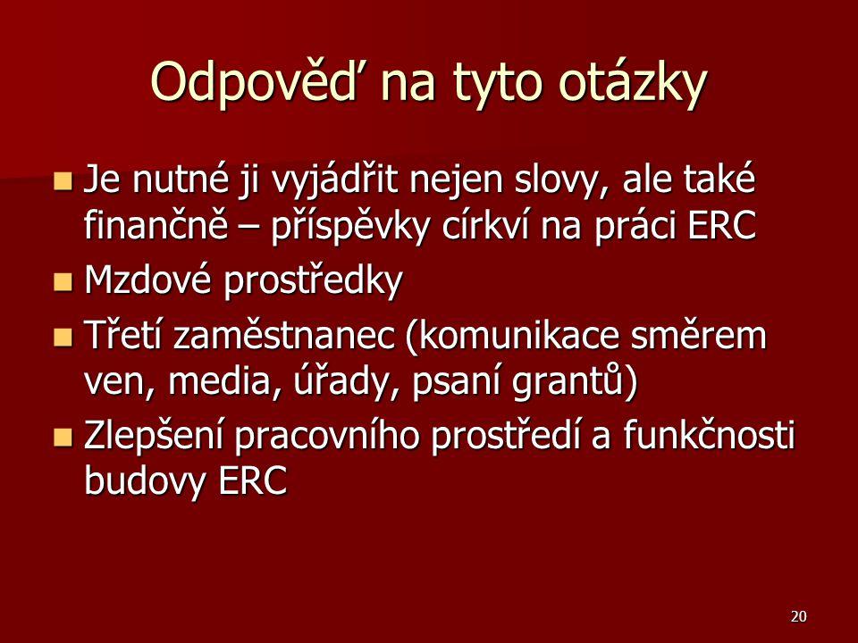 20 Odpověď na tyto otázky Je nutné ji vyjádřit nejen slovy, ale také finančně – příspěvky církví na práci ERC Je nutné ji vyjádřit nejen slovy, ale také finančně – příspěvky církví na práci ERC Mzdové prostředky Mzdové prostředky Třetí zaměstnanec (komunikace směrem ven, media, úřady, psaní grantů) Třetí zaměstnanec (komunikace směrem ven, media, úřady, psaní grantů) Zlepšení pracovního prostředí a funkčnosti budovy ERC Zlepšení pracovního prostředí a funkčnosti budovy ERC