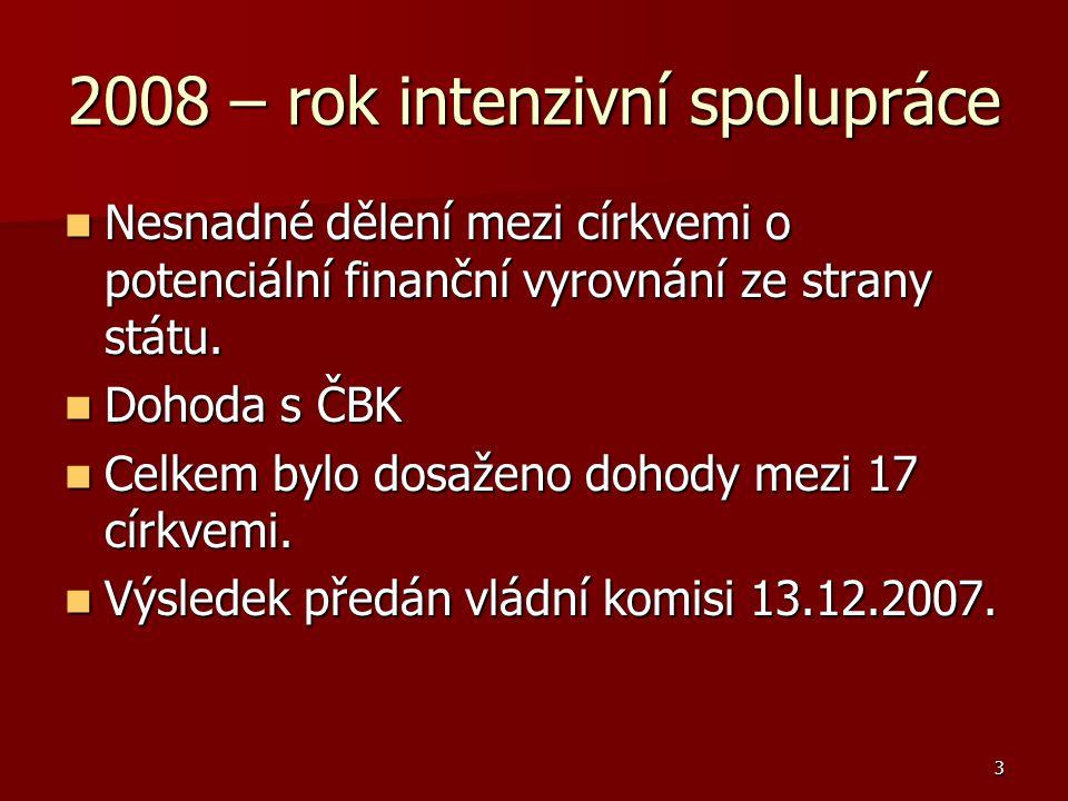 3 2008 – rok intenzivní spolupráce Nesnadné dělení mezi církvemi o potenciální finanční vyrovnání ze strany státu.
