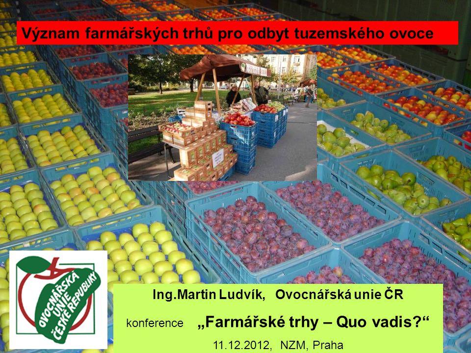 Možnosti prodeje čerstvého ovoce Farmářské trhy Přímý prodej obchodníkovi Přímo ze dvora nebo rozvoz (vč.