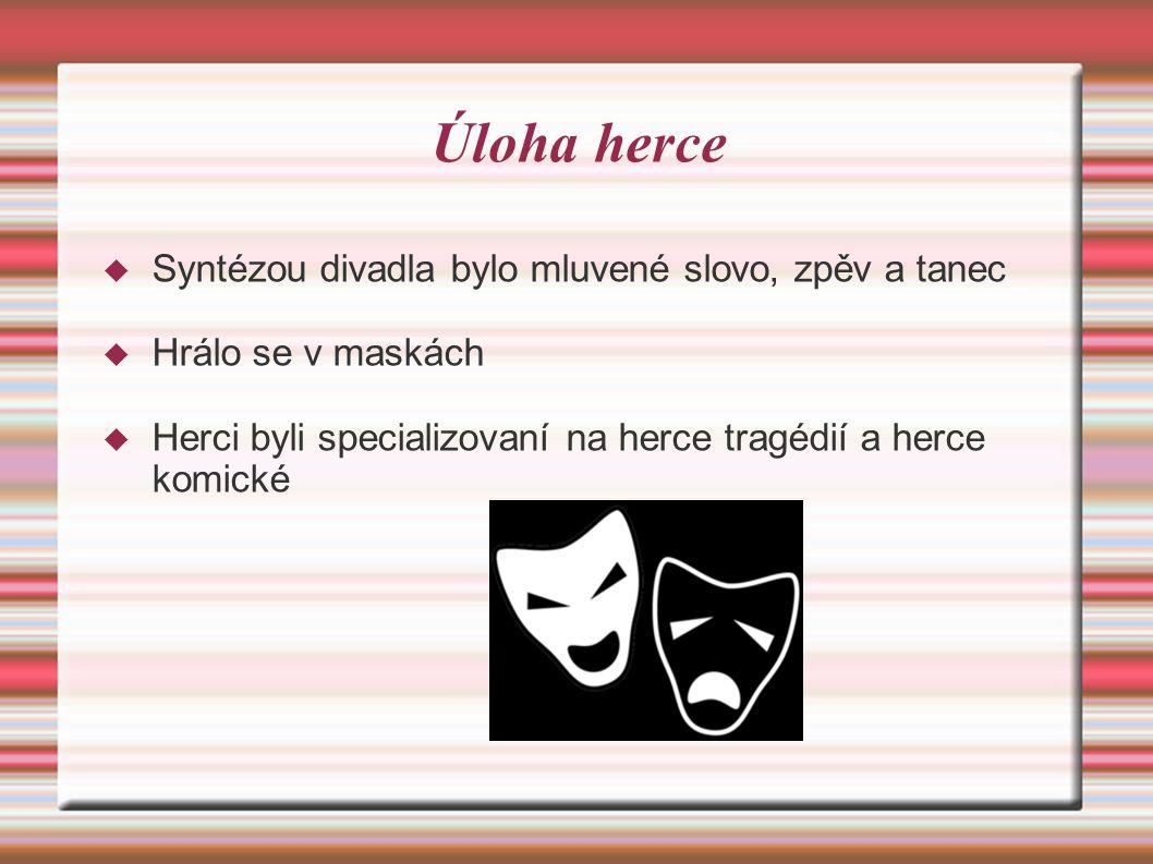 Úloha herce  Syntézou divadla bylo mluvené slovo, zpěv a tanec  Hrálo se v maskách  Herci byli specializovaní na herce tragédií a herce komické