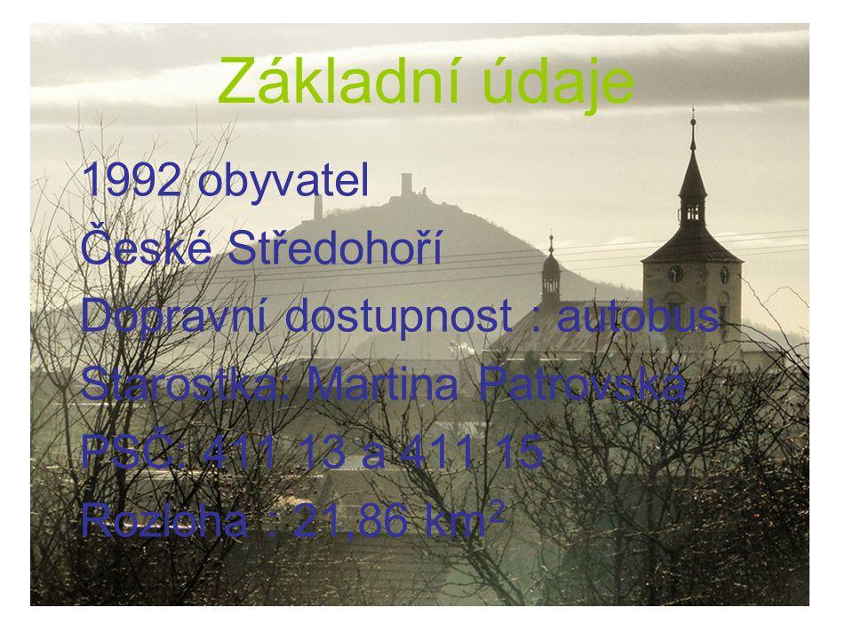 Základní údaje 1992 obyvatel České Středohoří Dopravní dostupnost : autobus Starostka: Martina Patrovská PSČ: 411 13 a 411 15 Rozloha : 21,86 km 2