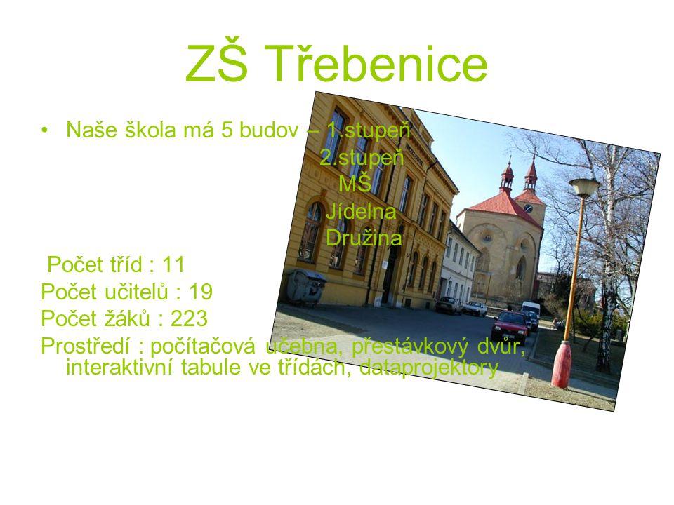 ZŠ Třebenice Naše škola má 5 budov – 1.stupeň 2.stupeň MŠ Jídelna Družina Počet tříd : 11 Počet učitelů : 19 Počet žáků : 223 Prostředí : počítačová u
