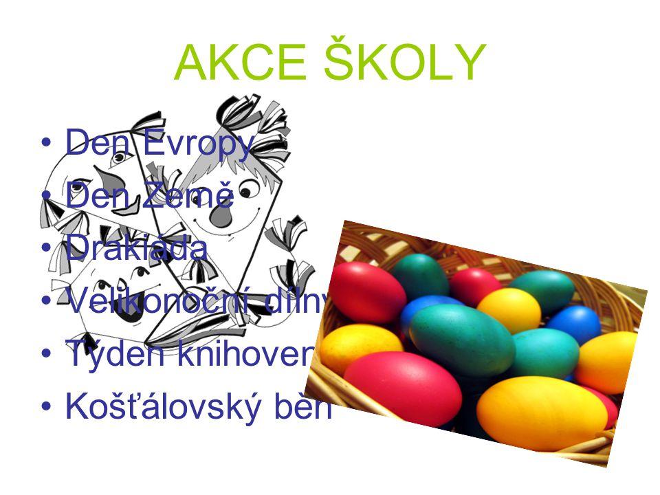 AKCE ŠKOLY Den Evropy Den Země Drakiáda Velikonoční dílny Týden knihoven Košťálovský běh