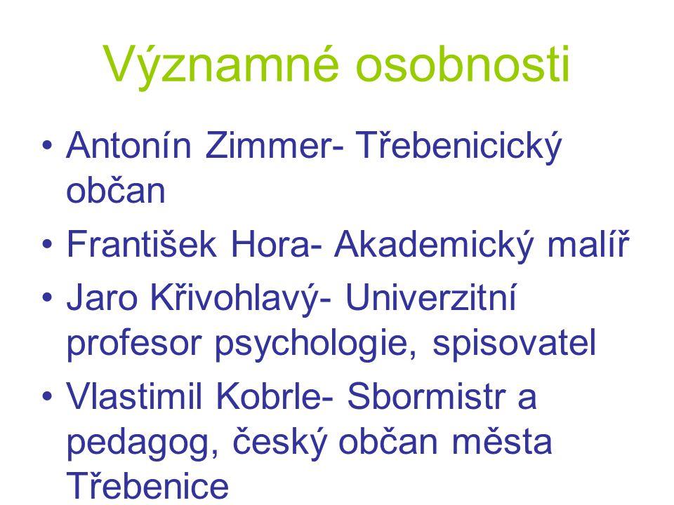 Významné osobnosti Antonín Zimmer- Třebenicický občan František Hora- Akademický malíř Jaro Křivohlavý- Univerzitní profesor psychologie, spisovatel V