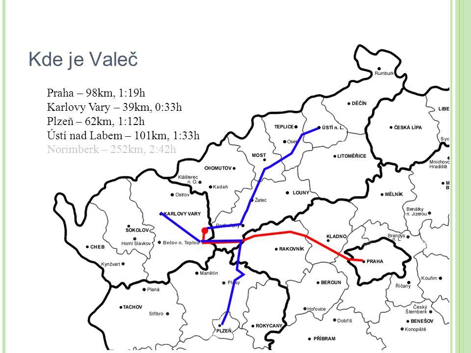 Kde je Valeč Praha – 98km, 1:19h Karlovy Vary – 39km, 0:33h Plzeň – 62km, 1:12h Ústí nad Labem – 101km, 1:33h Norimberk – 252km, 2:42h
