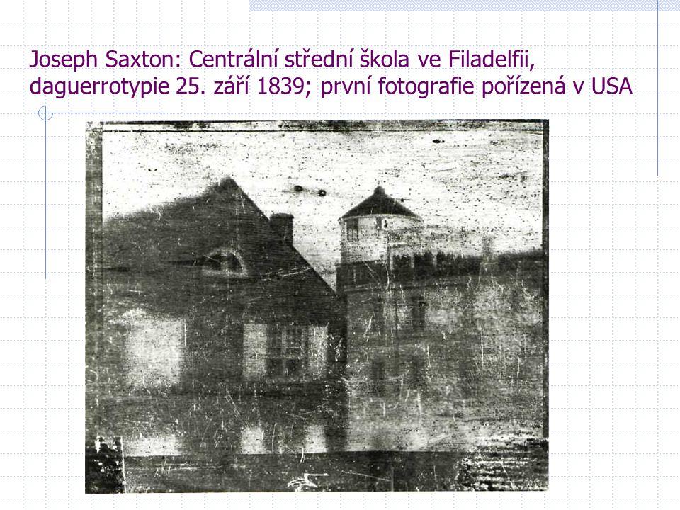 Joseph Saxton: Centrální střední škola ve Filadelfii, daguerrotypie 25. září 1839; první fotografie pořízená v USA
