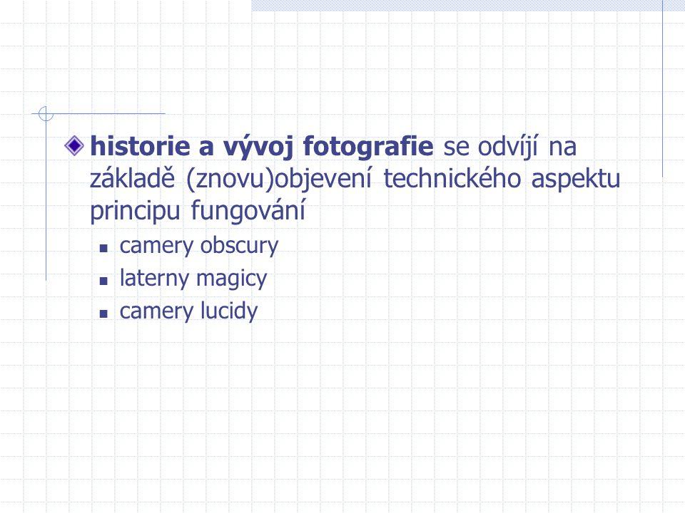 historie a vývoj fotografie se odvíjí na základě (znovu)objevení technického aspektu principu fungování camery obscury laterny magicy camery lucidy